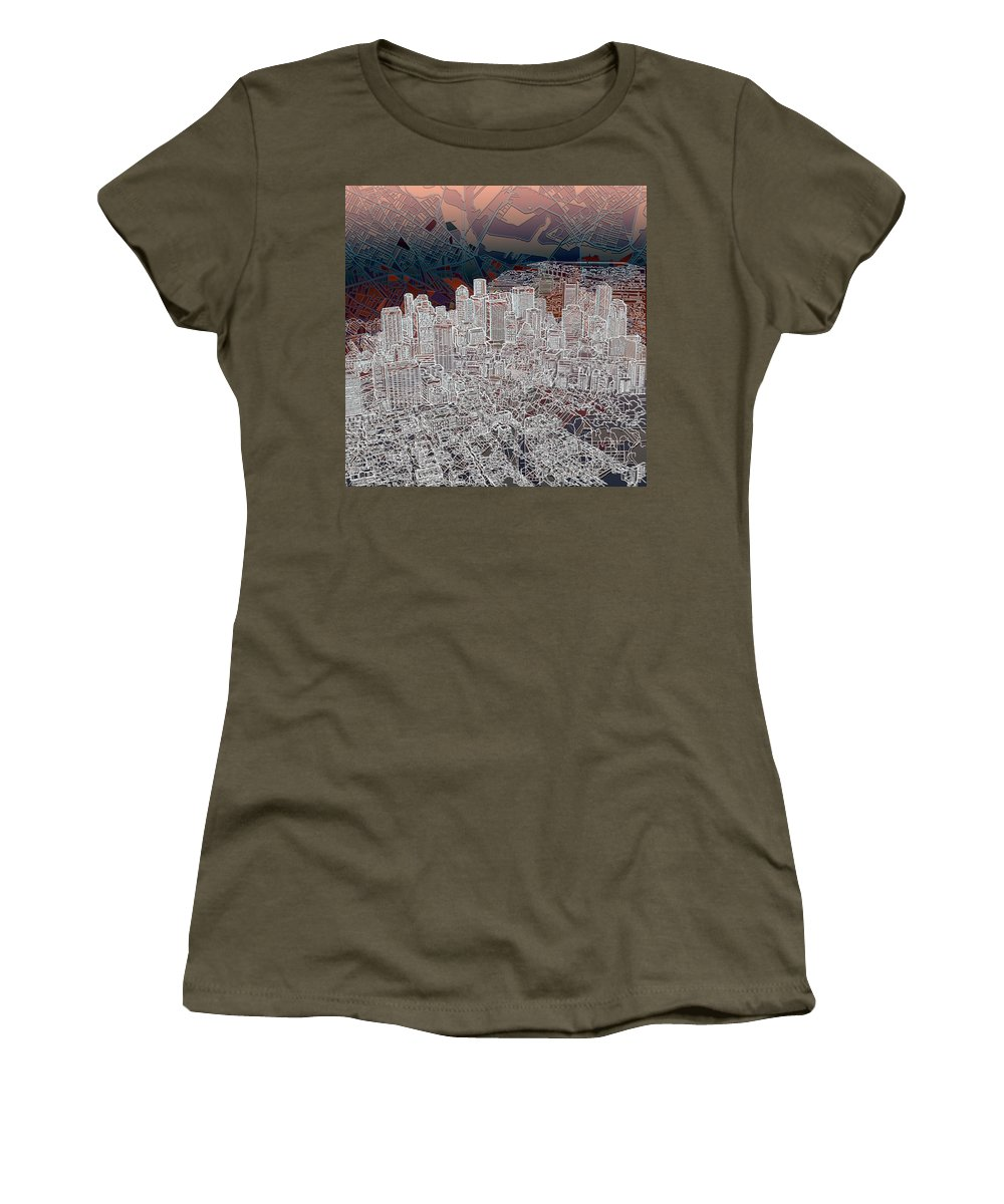 Boston Women's T-Shirt featuring the painting Boston Panorama Abstract 3 by Bekim Art