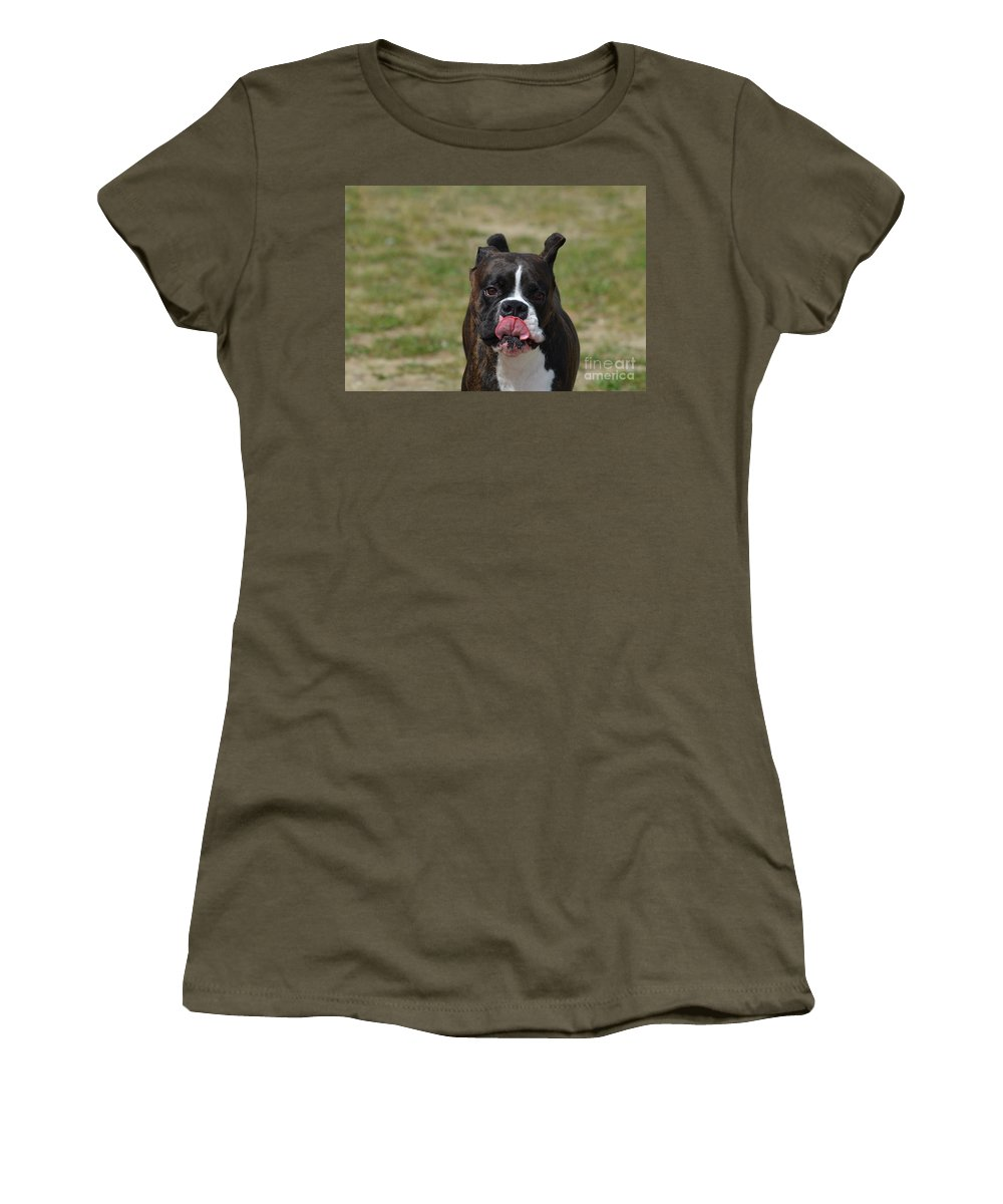 Boxer Women's T-Shirt (Athletic Fit) featuring the photograph Boxer Licking His Chops by DejaVu Designs
