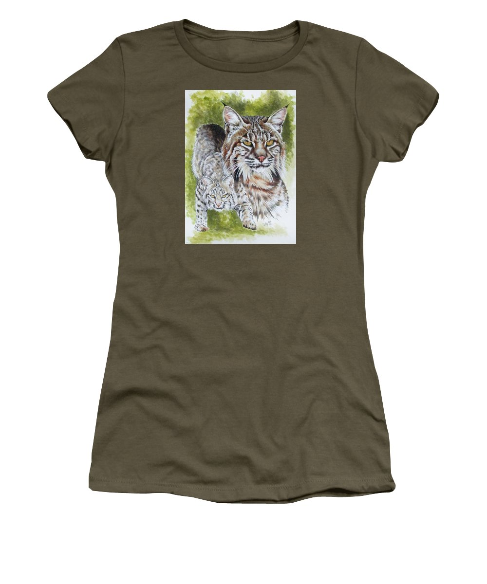 Small Cat Women's T-Shirt (Athletic Fit) featuring the mixed media Brassy by Barbara Keith
