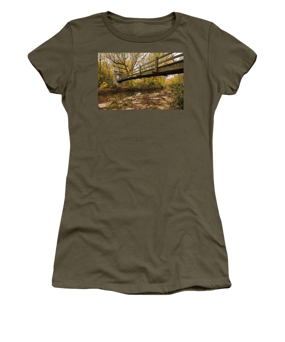 Www.cjschmit.com Women's T-Shirt featuring the photograph Bridge Between Seasons by CJ Schmit