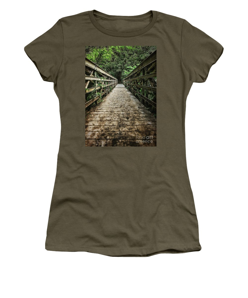 Forest Women's T-Shirt featuring the photograph Bridge Leading Into The Bamboo Jungle by Edward Fielding
