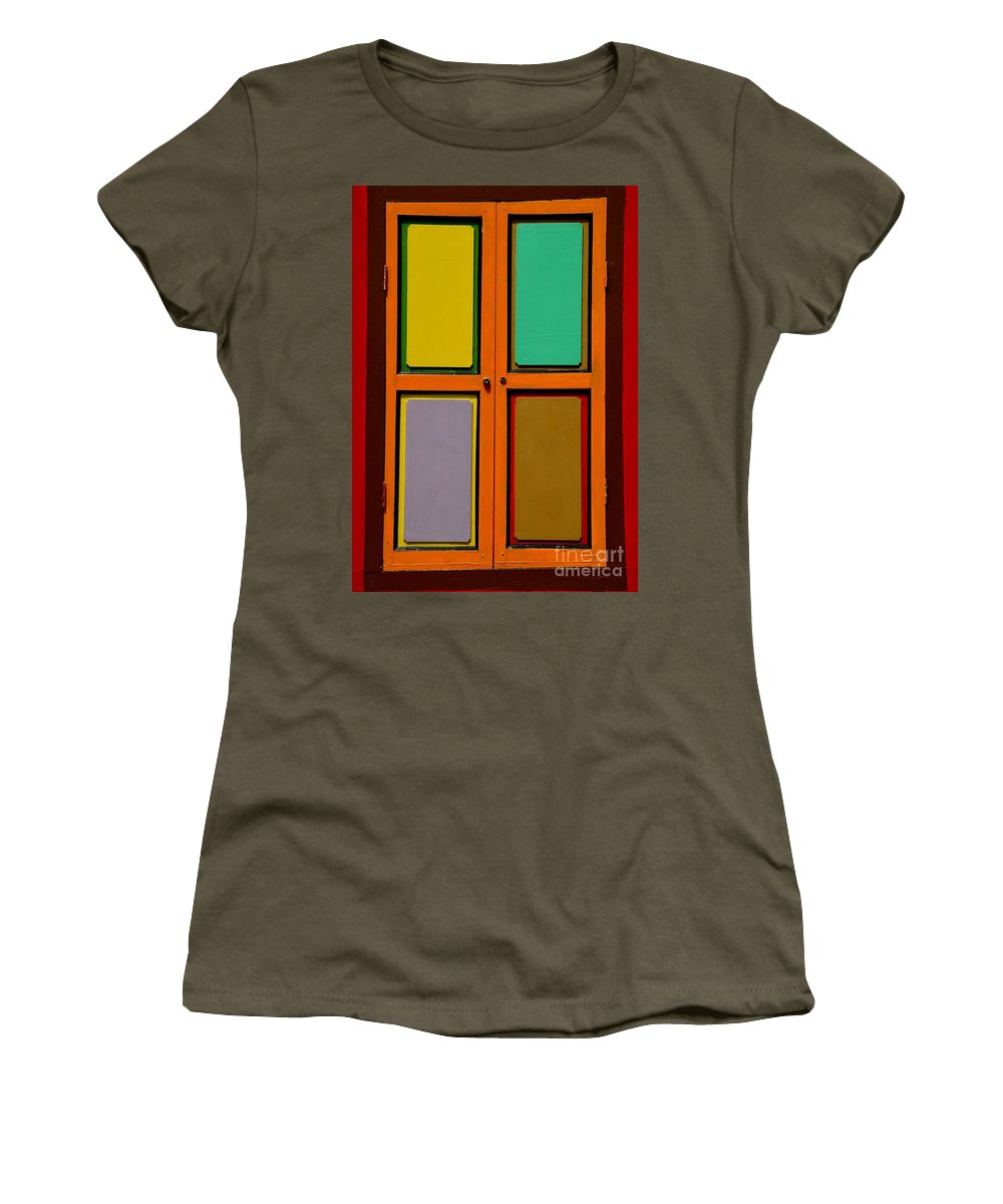 Square Women's T-Shirt featuring the photograph Bright Colorful Window Shutters With Four Panels by Imran Ahmed