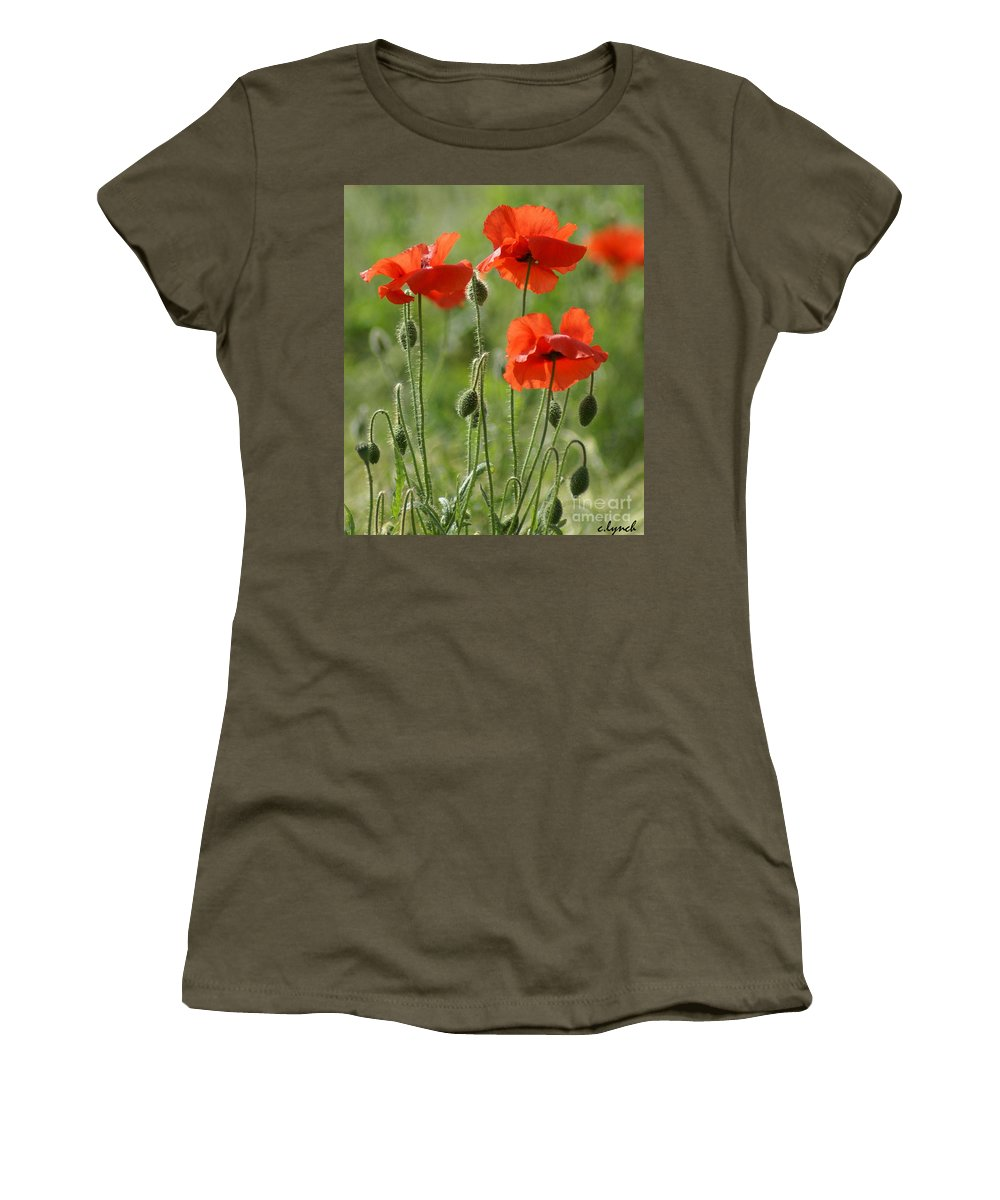 Poppies Women's T-Shirt featuring the photograph Bright Poppies 1 by Carol Lynch