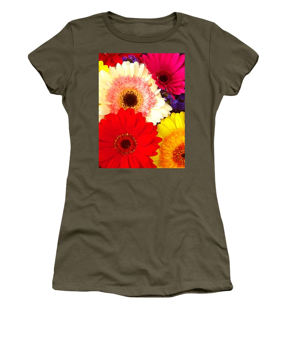Daisies Women's T-Shirt featuring the painting Brightly Colored Gerbers by Amy Vangsgard