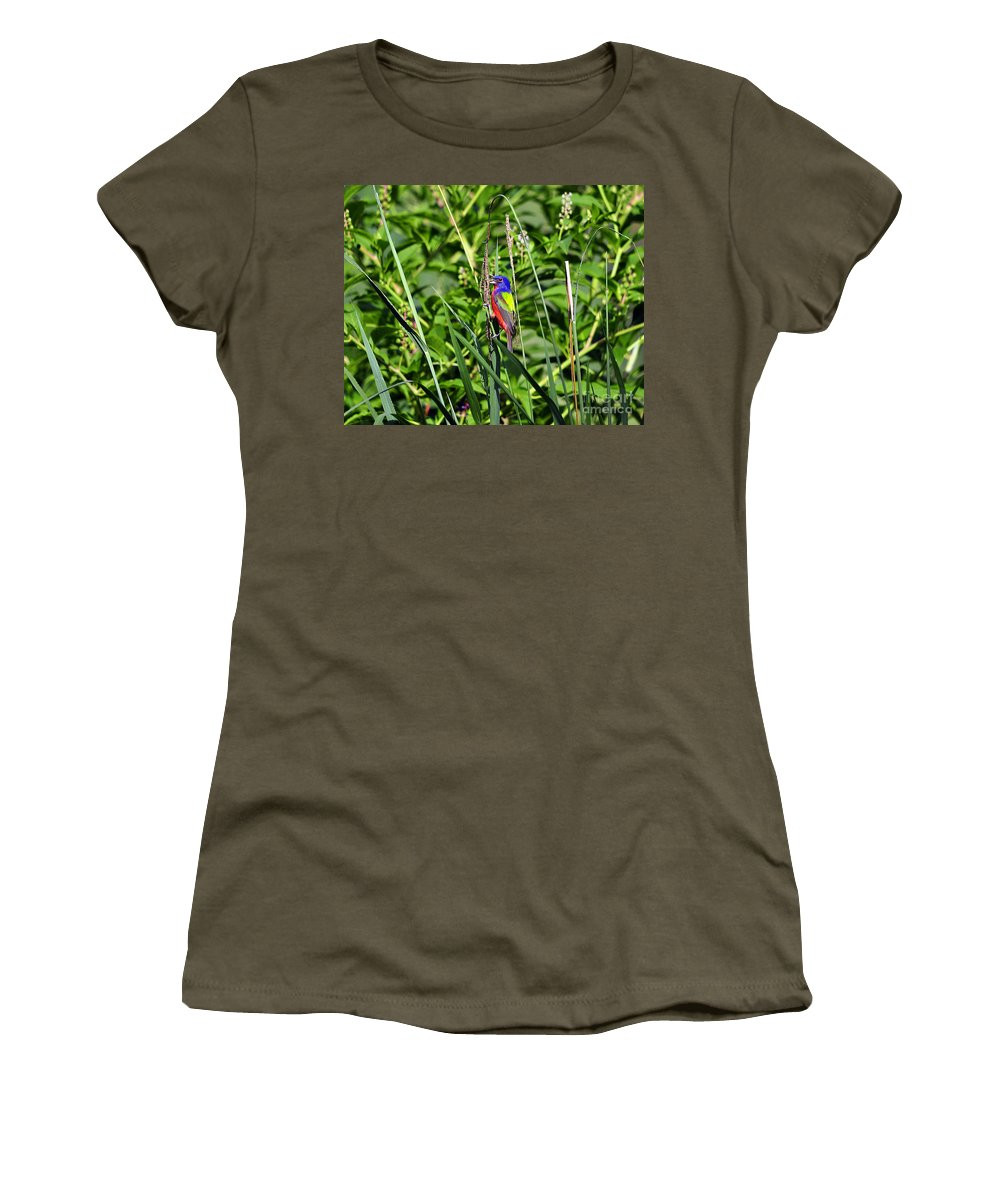 Bird Women's T-Shirt featuring the photograph Brilliant Bunting by Al Powell Photography USA