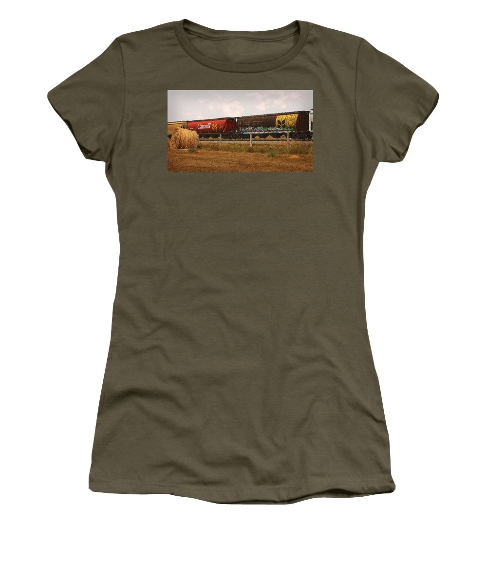 Railroad Women's T-Shirt featuring the photograph Bringing In The Wheat Canadian Railroad by Terry Fleckney