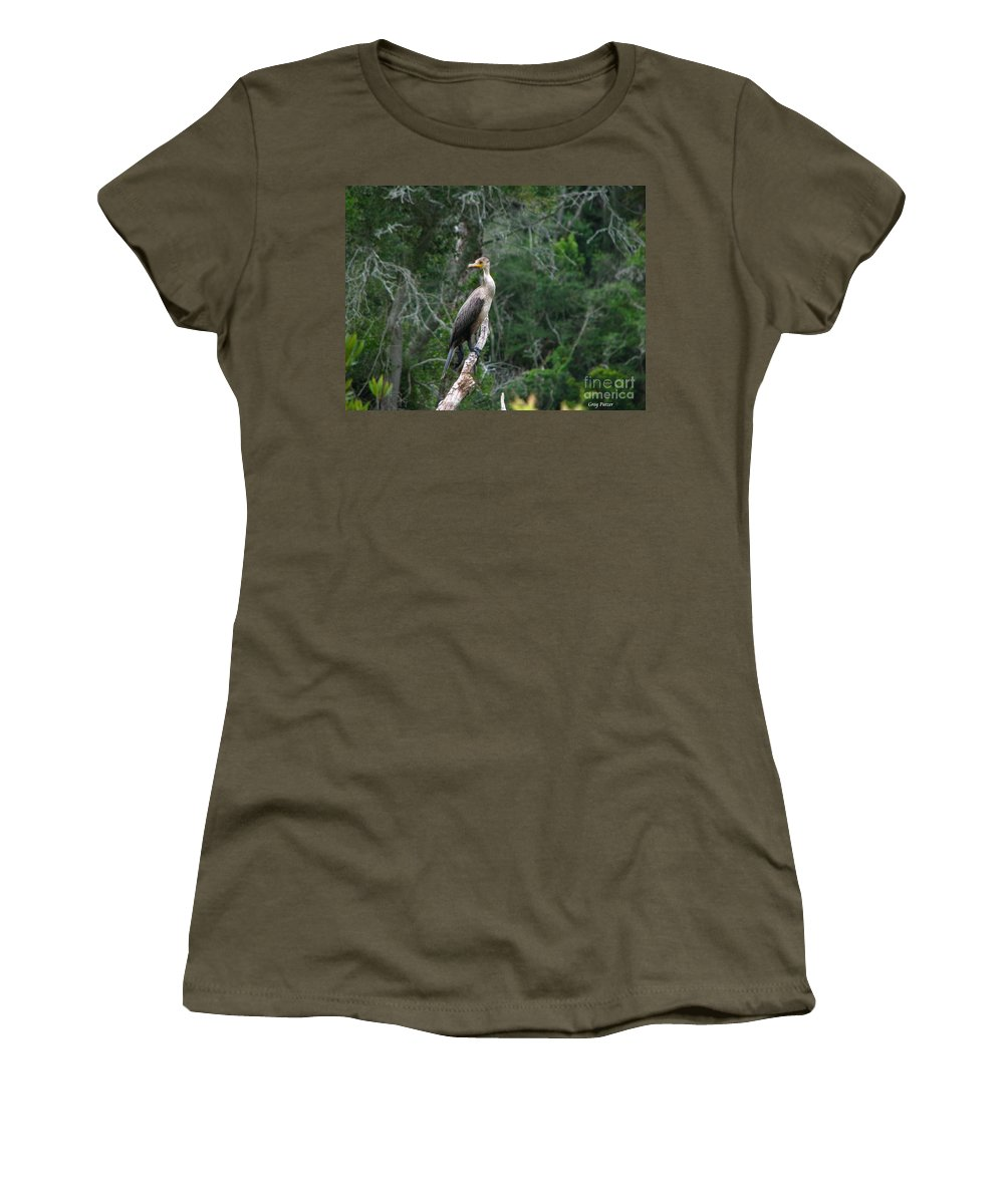 Patzer Women's T-Shirt (Athletic Fit) featuring the photograph Bristol Cormorant by Greg Patzer