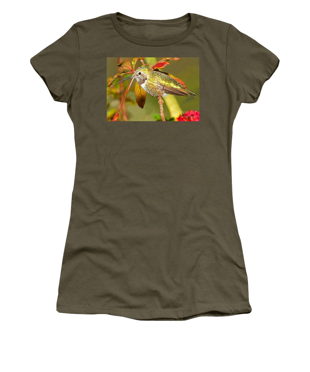 Nature Women's T-Shirt featuring the photograph Broad Tailed Hummingbird by Millard H. Sharp