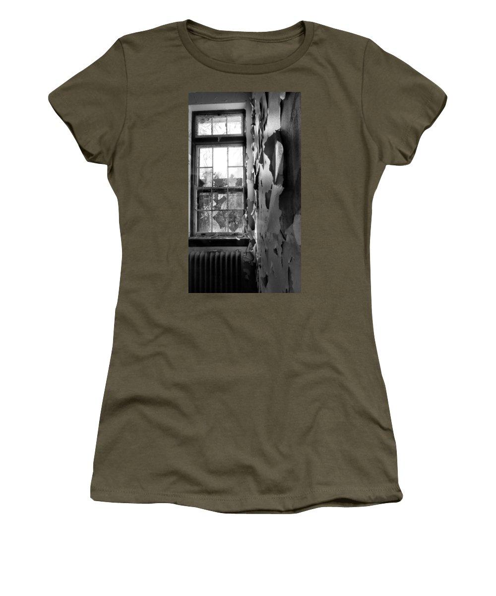 Window Women's T-Shirt featuring the photograph Broken Glass by Art Dingo