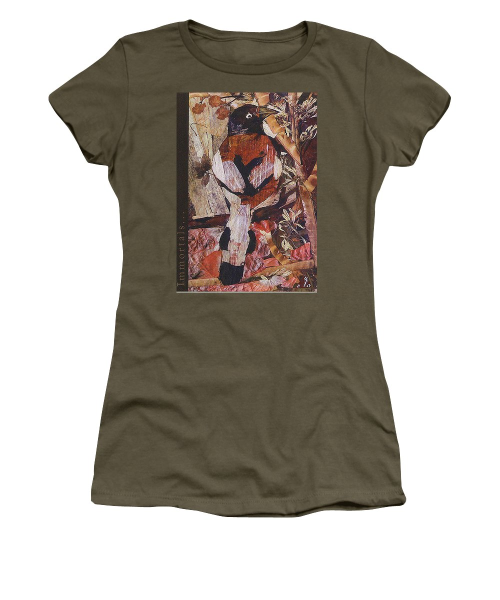 Brown-white-bird Women's T-Shirt featuring the mixed media Brown- White Bird by Basant Soni
