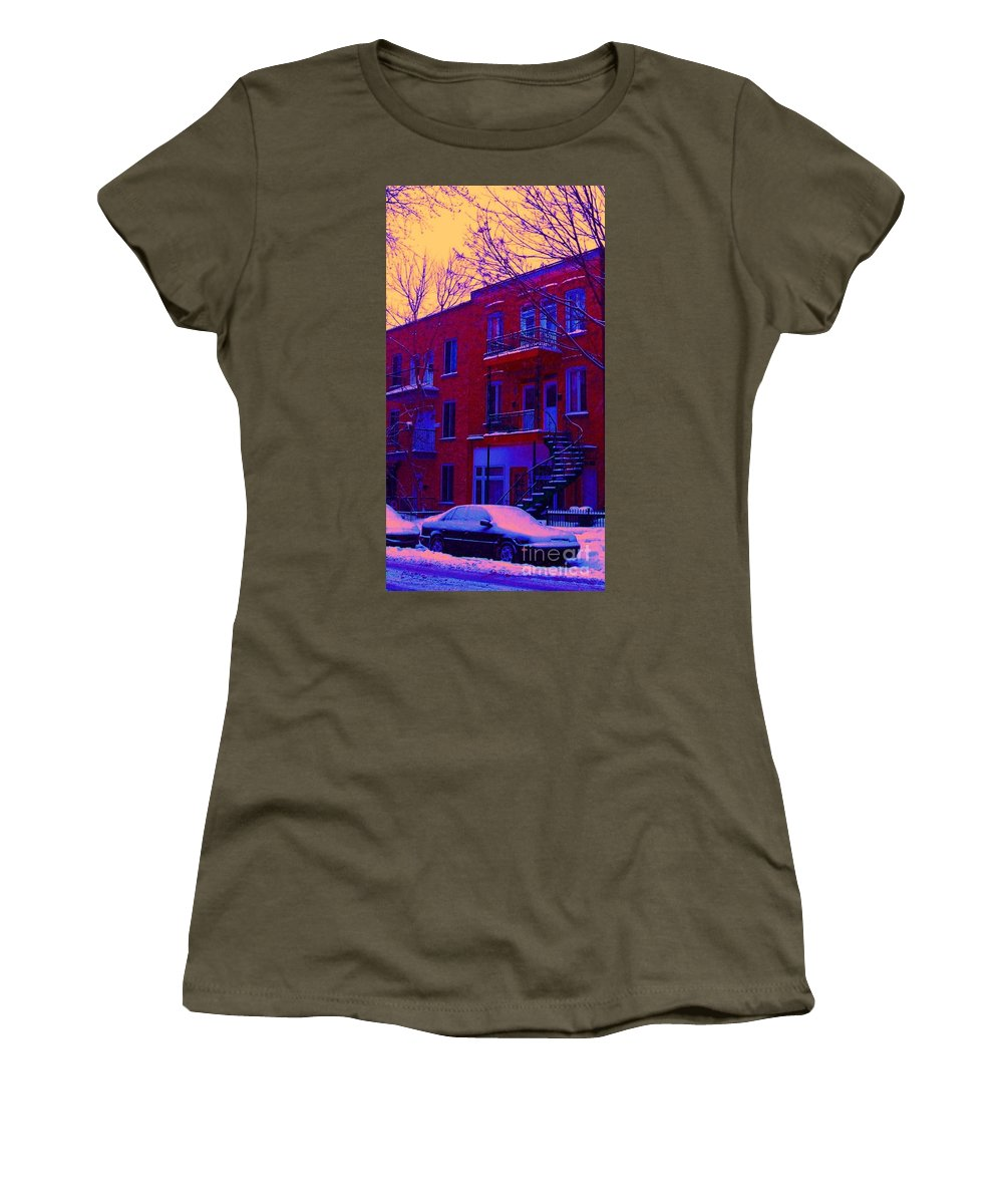 Montreal Women's T-Shirt featuring the photograph Brownstones In Winter 6 by Carole Spandau