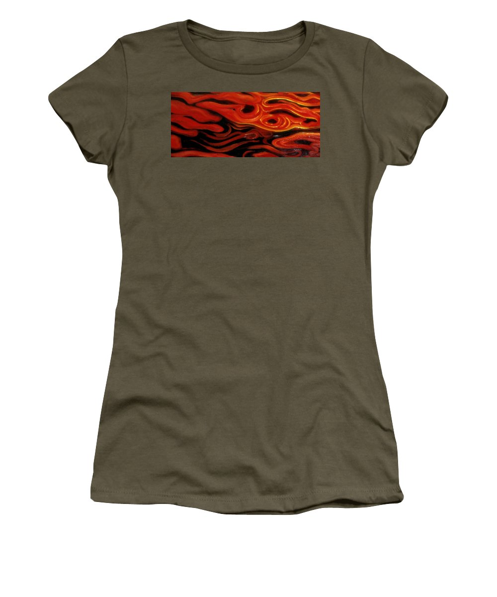 Genio Women's T-Shirt featuring the mixed media Brush Strokes In Red by Genio GgXpress