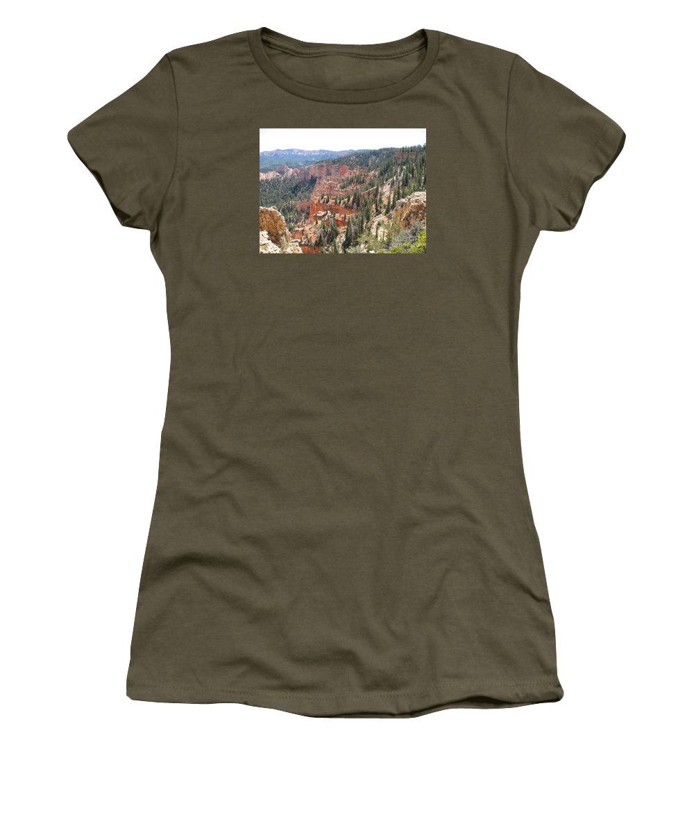Rocks Women's T-Shirt featuring the photograph Bryce Canyon View by Christiane Schulze Art And Photography