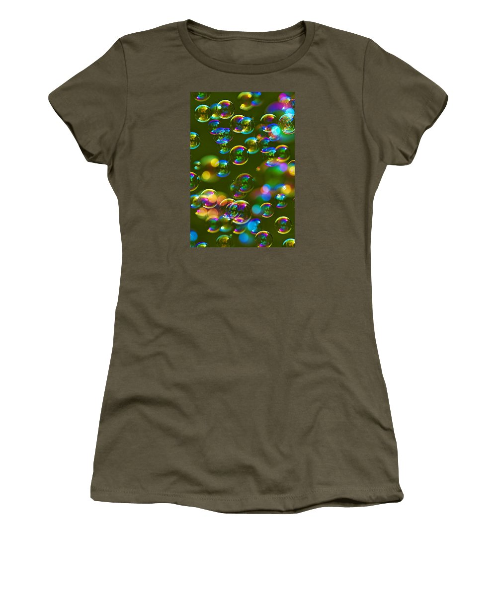 Abstract Women's T-Shirt featuring the photograph Bubbles Bubbles And More Bubbles by Marcia Colelli
