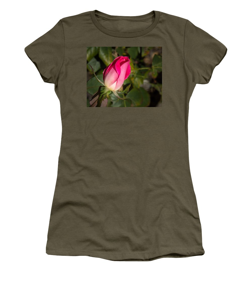 Flower Women's T-Shirt (Athletic Fit) featuring the photograph Budding Pink Rose by Shari Brase-Smith