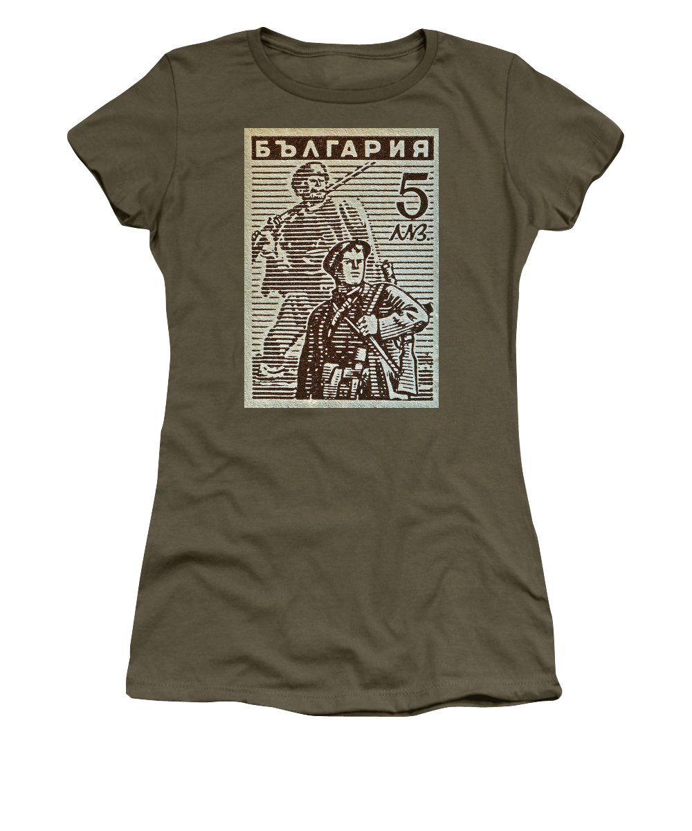 1944 Bulgaria Stamp Women's T-Shirt featuring the photograph Bulgarian Soldier Stamp - Circa 1944 by Bill Owen