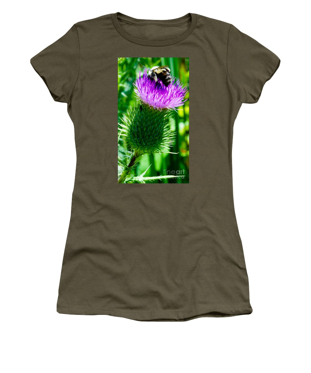 Bumble Bee Women's T-Shirt (Athletic Fit) featuring the photograph Bumble Bee On Bull Thistle Plant by Optical Playground By MP Ray