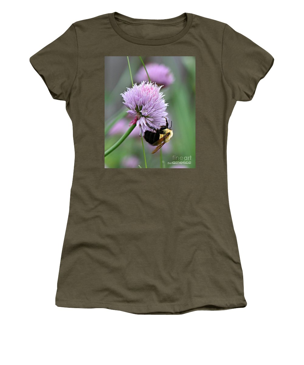 Flower Women's T-Shirt featuring the photograph Bumblebee On Clover by Barbara McMahon