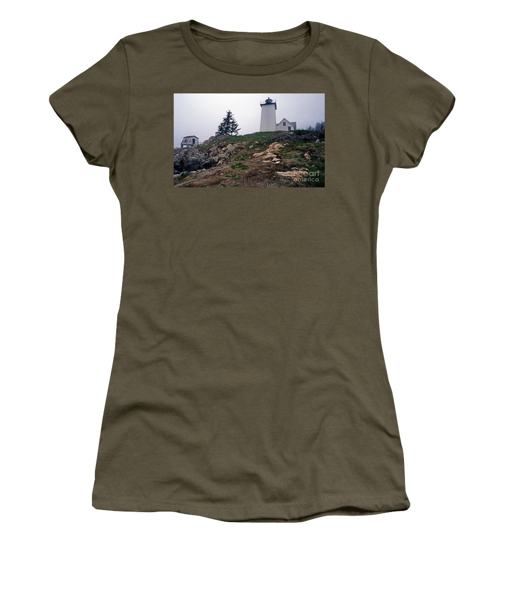 Lighthouses Women's T-Shirt featuring the photograph Burnt Coat Harbor Light by Skip Willits