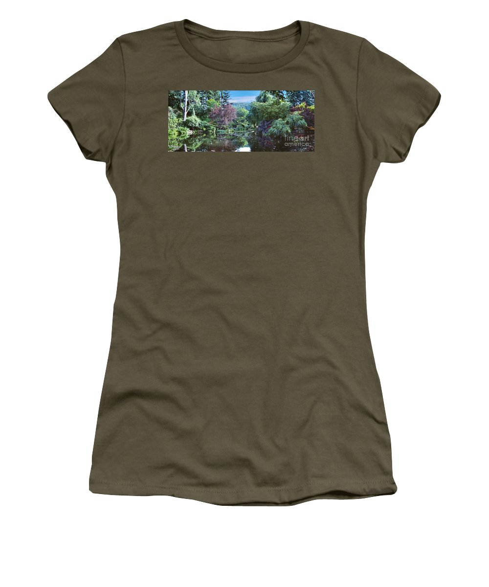 Butchart Gardens Women's T-Shirt featuring the photograph Butchart Gardens Is A Group Of Floral Display Gardens British Columbia Canada 3 by David Zanzinger