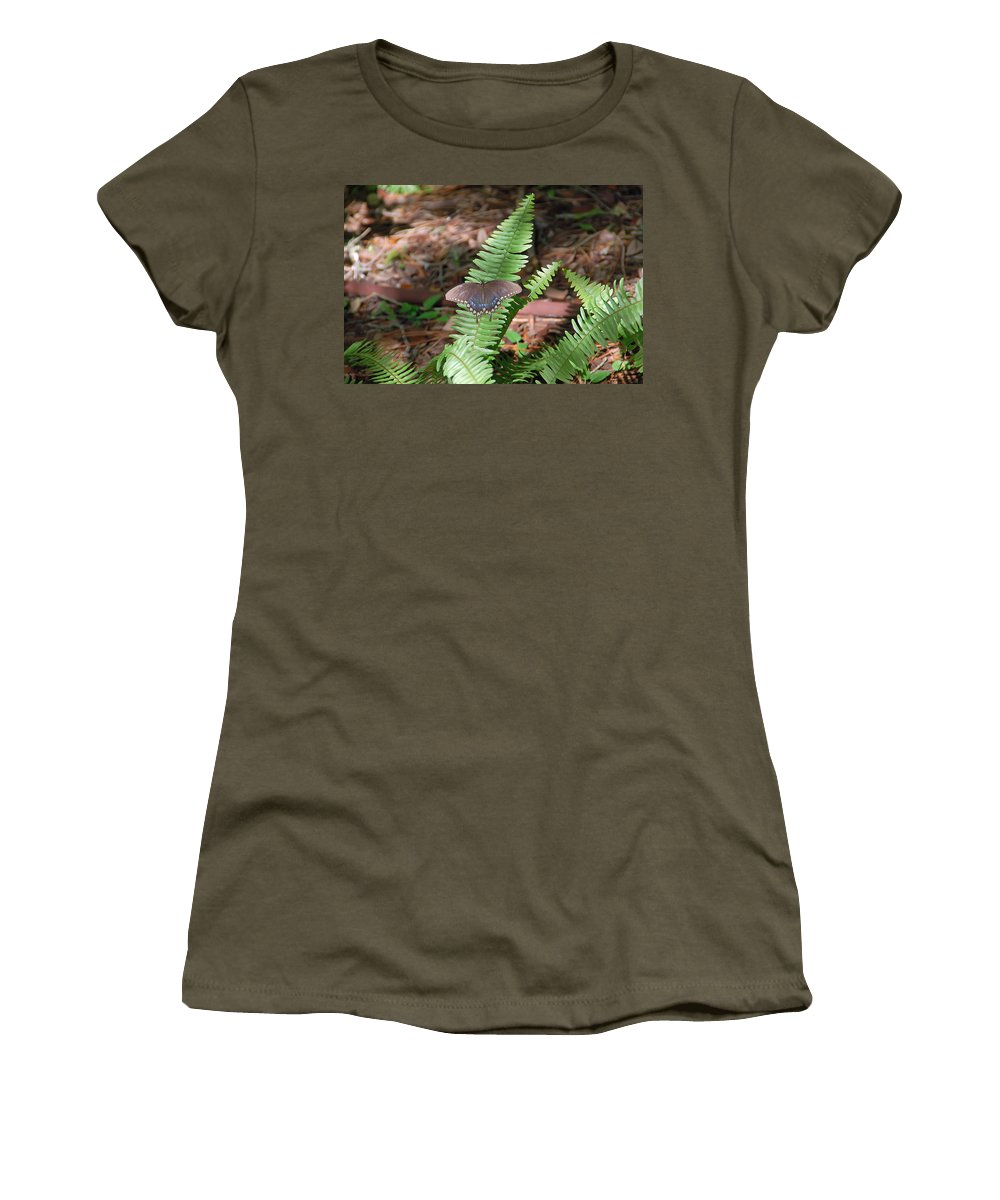 Butterfly Women's T-Shirt featuring the photograph Butterfly On Fern by Aimee L Maher ALM GALLERY