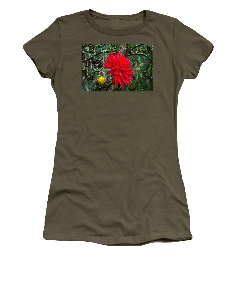 Red Dahlia Women's T-Shirt featuring the photograph By The Garden Gate - Red Dahlia by Marie Jamieson