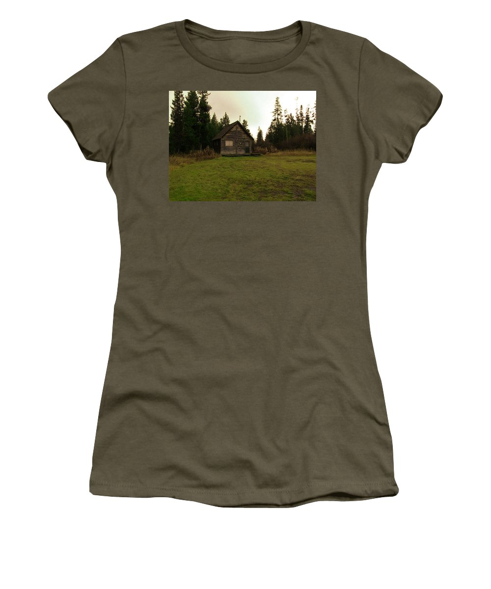 Island Park Women's T-Shirt (Athletic Fit) featuring the photograph Cabin In The Woods by Image Takers Photography LLC