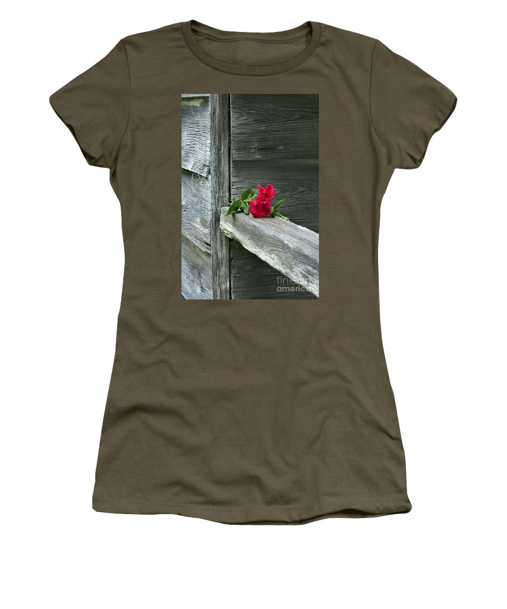 Pictures Of Flowers Women's T-Shirt featuring the photograph Cabin Rose by Skip Willits