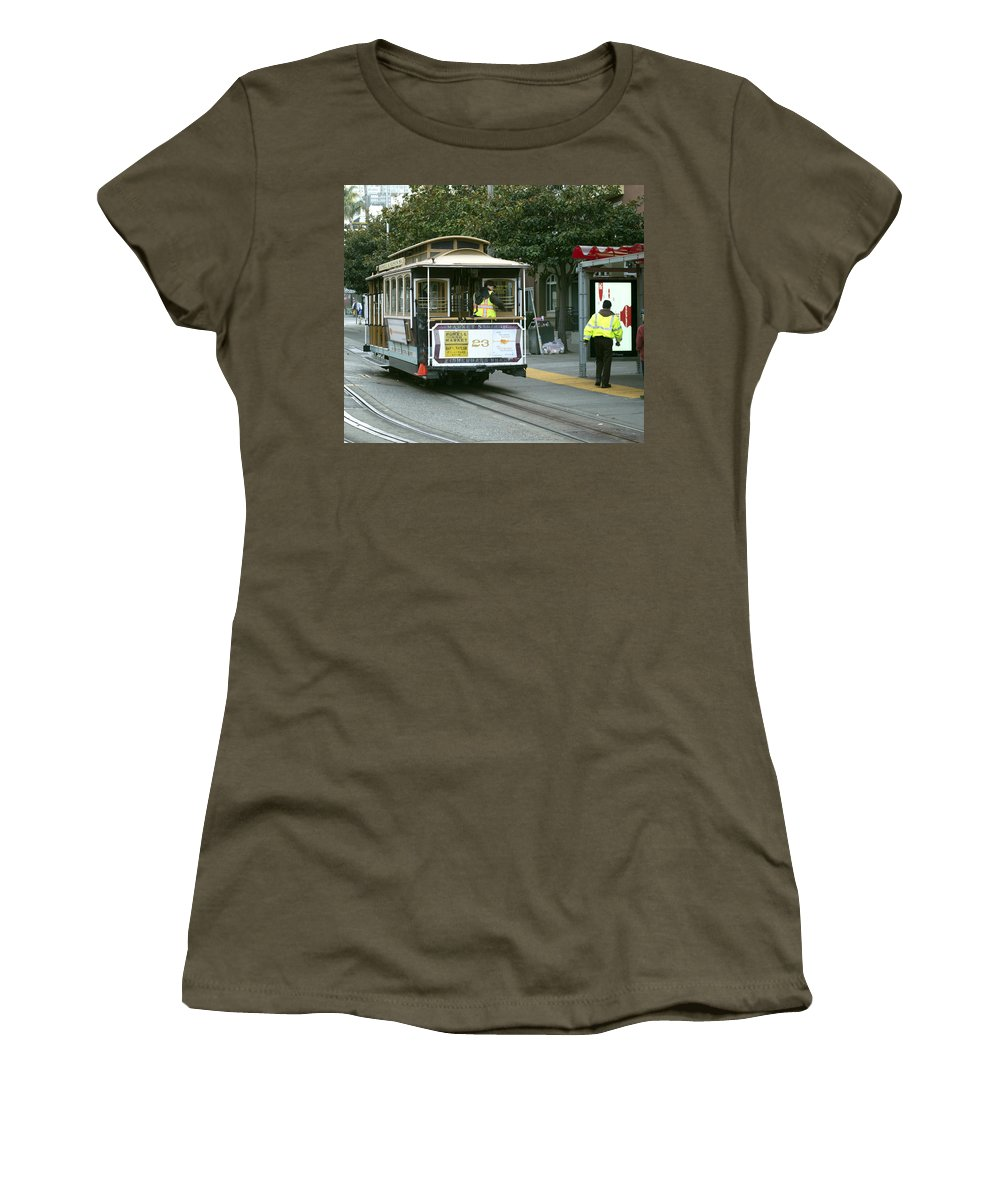 Photograph Women's T-Shirt featuring the photograph Cable Car At Fisherman's Wharf by Christopher Winkler