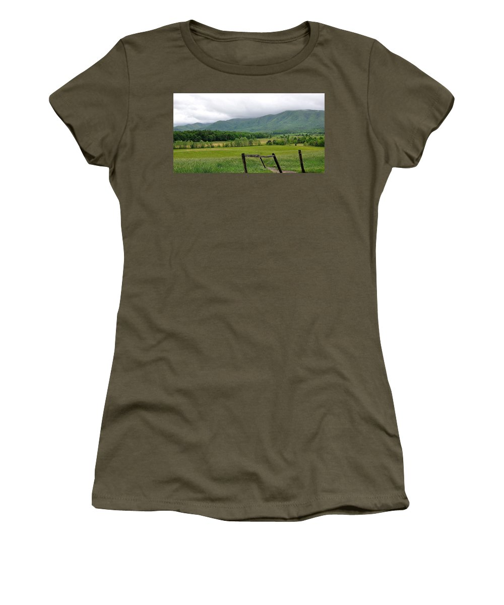 Cades Cove Women's T-Shirt featuring the photograph Cades Cove Mountains 1 by Todd Hostetter