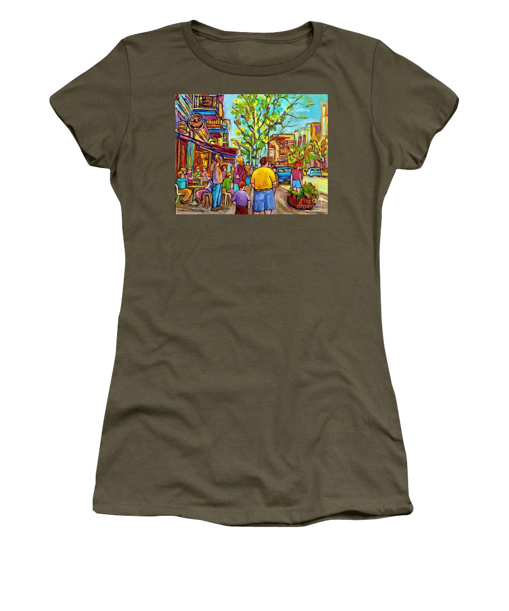 Montreal Streetscene Women's T-Shirt (Athletic Fit) featuring the painting Cafes In Springtime by Carole Spandau