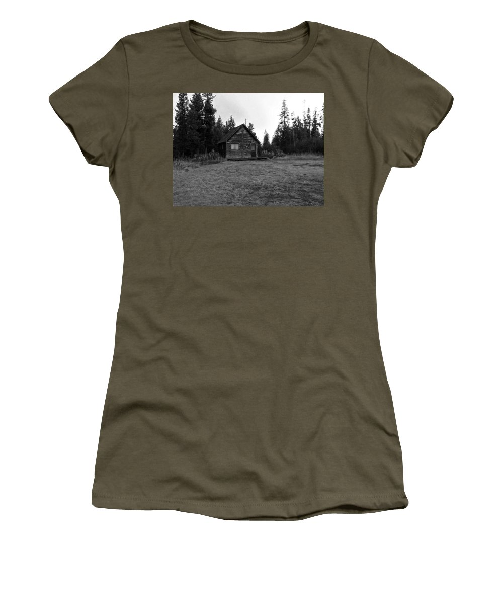 Island Park Women's T-Shirt (Athletic Fit) featuring the photograph Cagin In The Woods by Image Takers Photography LLC