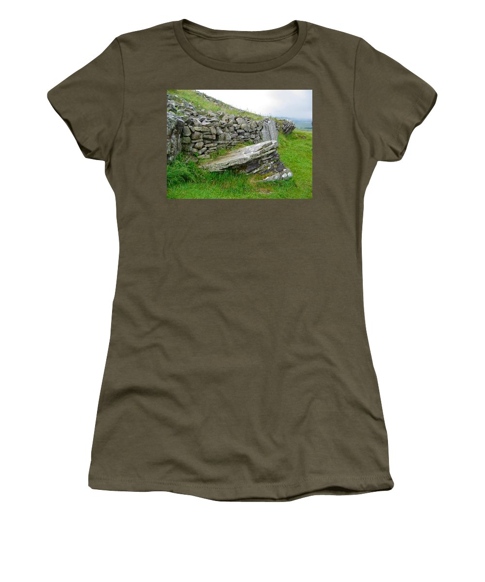 Loughcrew Women's T-Shirt featuring the photograph Cairn T - The Hag's Chair by Denise Mazzocco