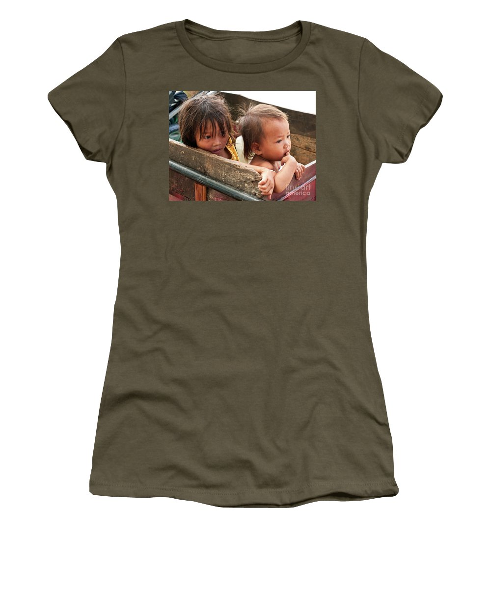 Cambodia Women's T-Shirt featuring the photograph Cambodian Children 03 by Rick Piper Photography