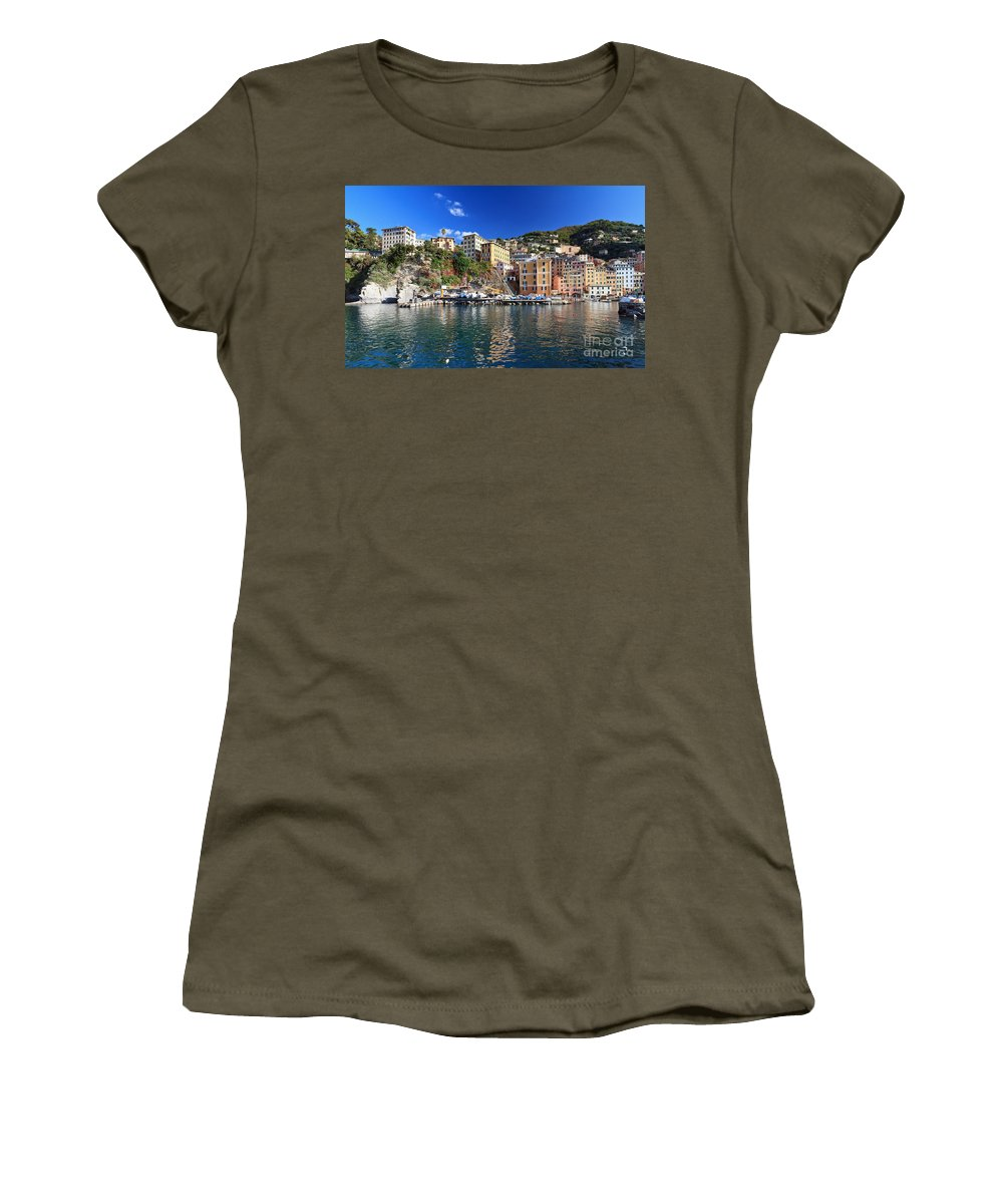 Architecture Women's T-Shirt featuring the photograph Camogli From The Sea by Antonio Scarpi