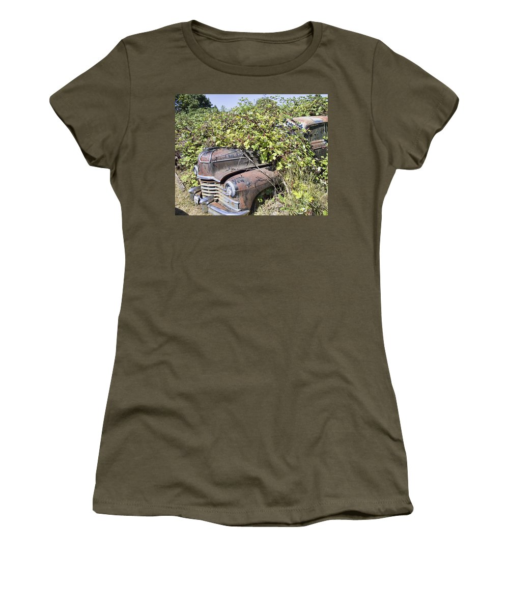 Women's T-Shirt featuring the photograph Camouflaged Car by Cathy Anderson