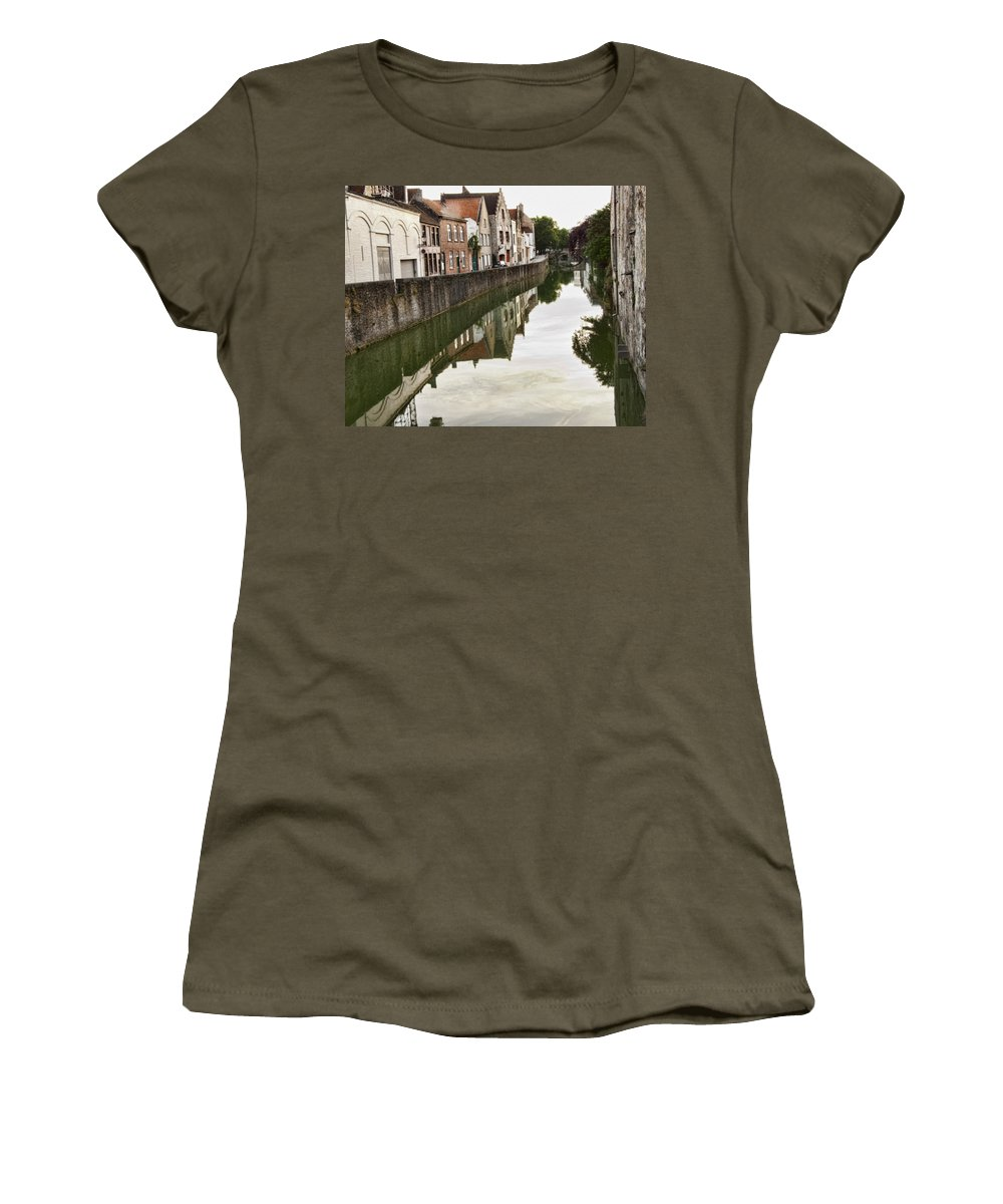 Canal Reflection Women's T-Shirt (Athletic Fit) featuring the photograph Canal Reflection by Phyllis Taylor