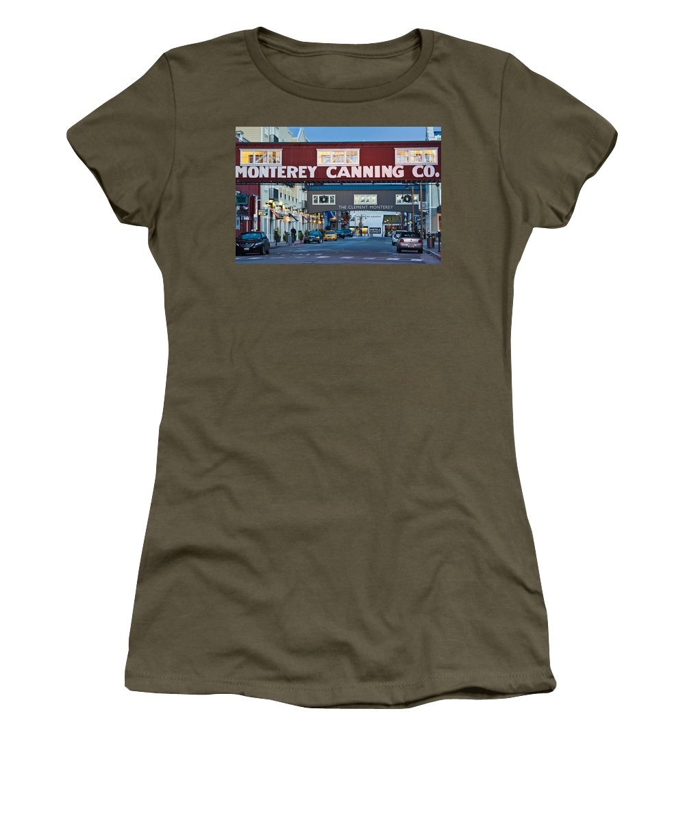 Photography Women's T-Shirt featuring the photograph Cannery Row Area At Dawn, Monterey by Panoramic Images