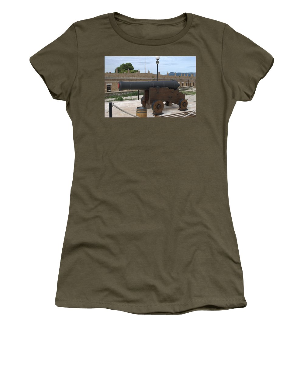 Corfu Women's T-Shirt featuring the photograph cannon of the old fort Corfu by George Katechis