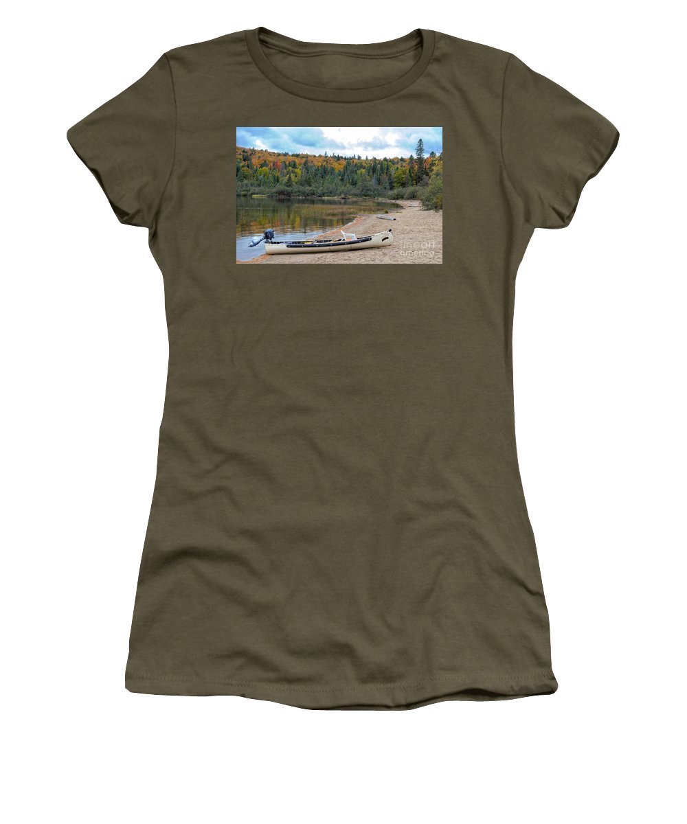 Canoe Women's T-Shirt featuring the photograph Canoe With An Engine by Les Palenik