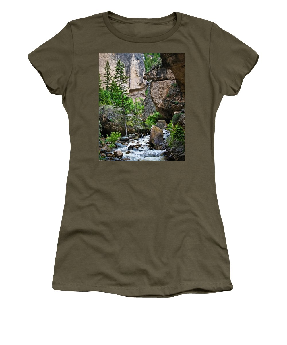 Canyon Women's T-Shirt featuring the photograph Canyon Serenity - Crazy Woman Creek - Crazy Woman Canyon - Johnson County - Wyoming by Diane Mintle