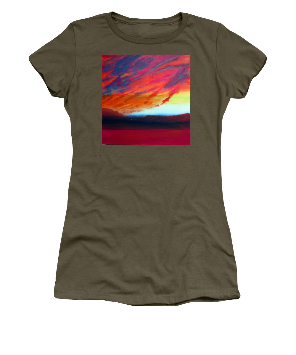 Southwest Women's T-Shirt featuring the painting Canyon Sunset by Keith Thue