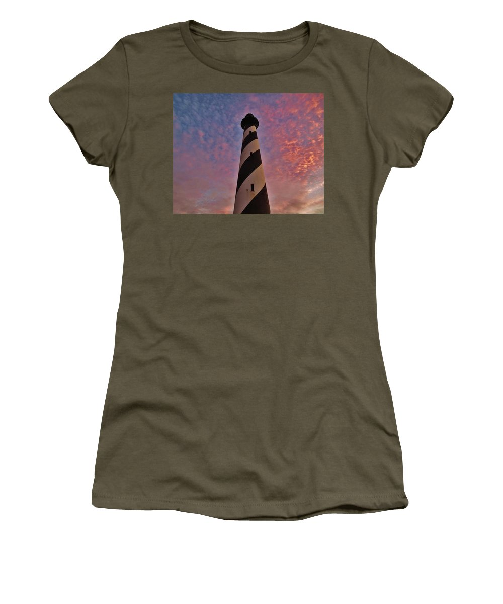 Mark Lemmon Cape Hatteras Nc The Outer Banks Photographer Subjects From Sunrise Women's T-Shirt featuring the photograph Cape Hatteras Lighthouse 5 11/05 by Mark Lemmon