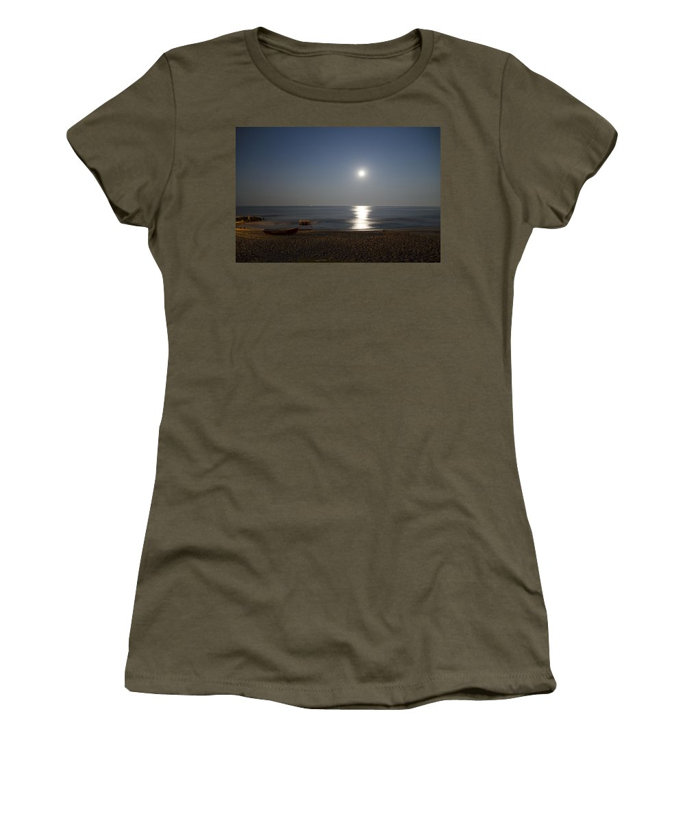 Cape Women's T-Shirt featuring the photograph Cape May Beach In The Moonlight by Bill Cannon