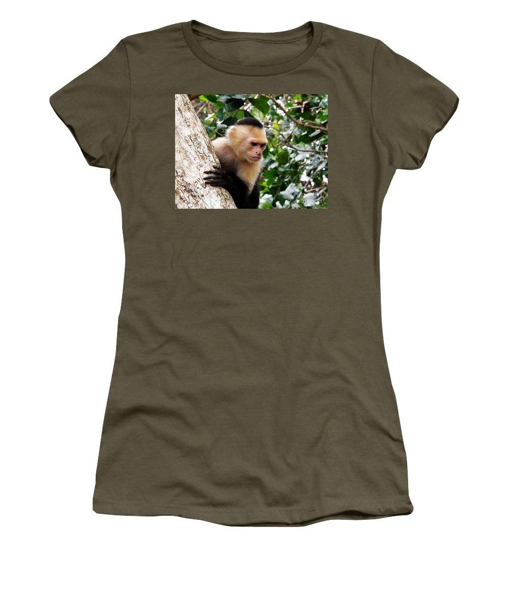 Capuchin Monkey Women's T-Shirt featuring the photograph Capuchin Monkey by DejaVu Designs