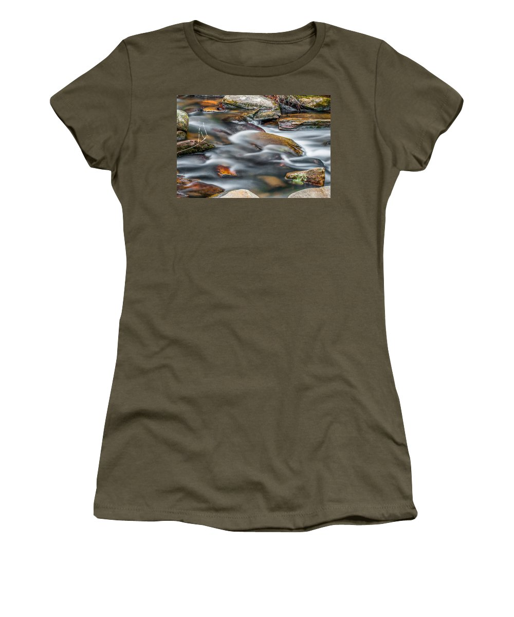 Optical Playground By Mp Ray Women's T-Shirt featuring the photograph Carreck Creek Cascades by Optical Playground By MP Ray