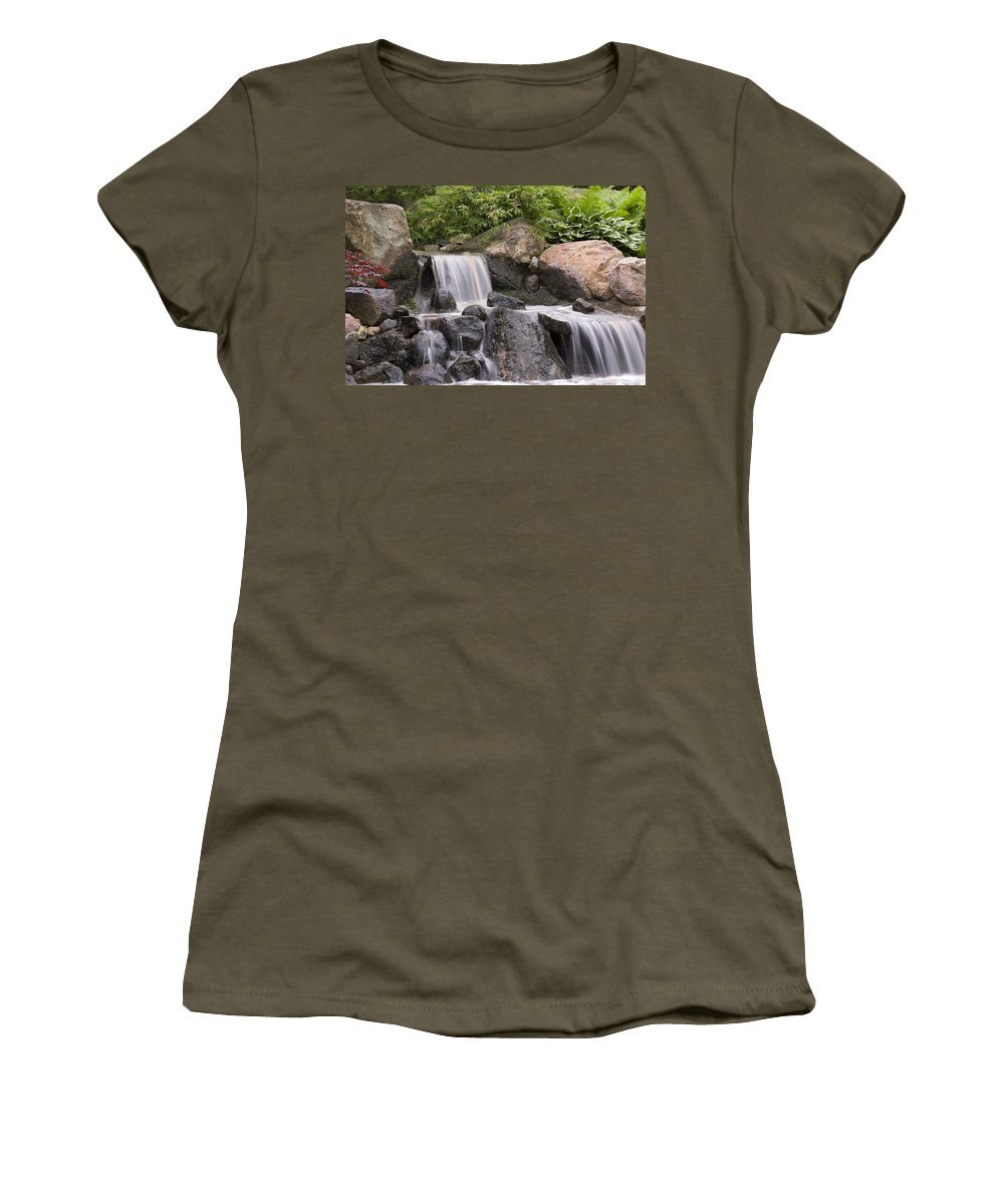 3scape Photos Women's T-Shirt (Athletic Fit) featuring the photograph Cascade Waterfall by Adam Romanowicz
