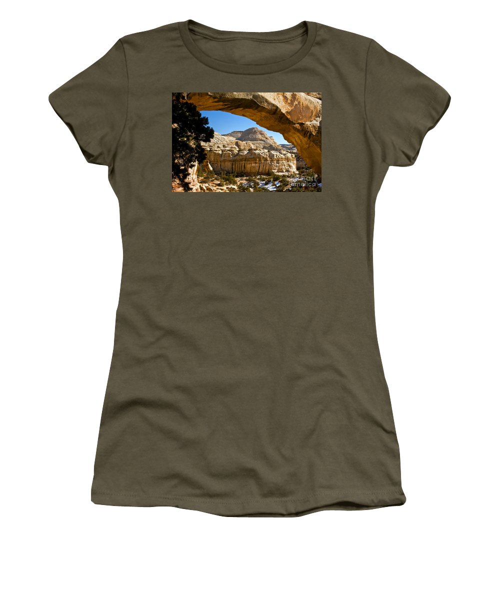 Capitol Reef National Park Utah Parks Cassidy Arch Trail Arches Rock Rocks Stone Stone Sandstone Landscape Landscapes Women's T-Shirt featuring the photograph Cassidy Arch by Bob Phillips