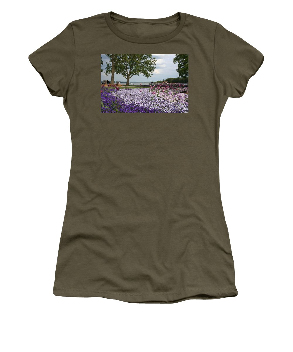 Schwerin Women's T-Shirt featuring the photograph Castle Garden Schwerin - Germany by Christiane Schulze Art And Photography