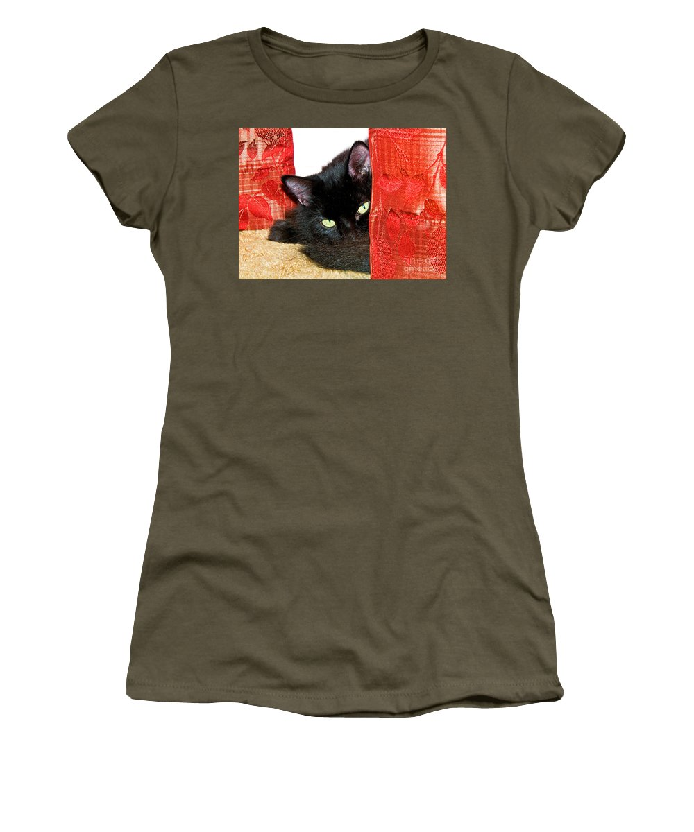 Animal Women's T-Shirt featuring the photograph Cat Hiding Behind Drapes by Millard H. Sharp